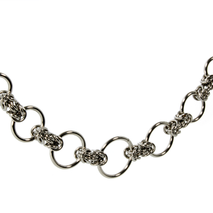 A steel byzantine chainmaille necklace.