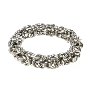 A steel byzantine chainmaille ring.