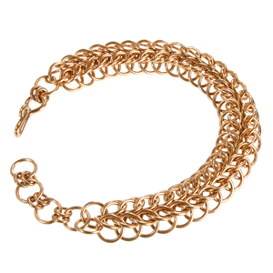 A bronze persian chainmaille bracelet.