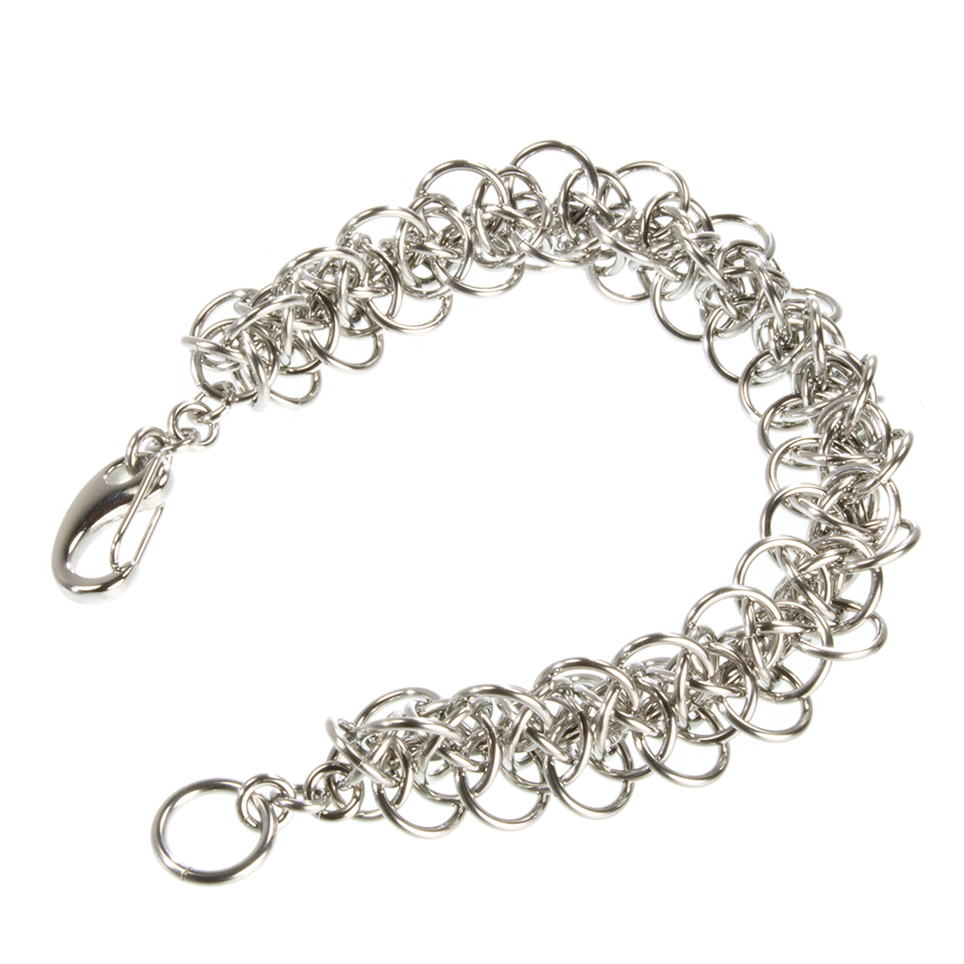 A steel triffids chainmaille bracelet.