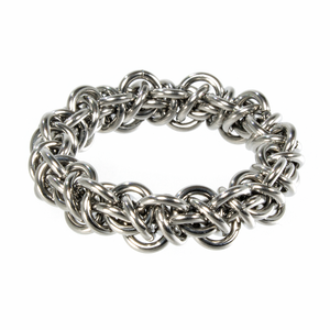 A steel emira chainmaille ring.