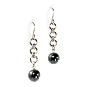 A pair of steel and hematite japanese drop chainmaille earrings.