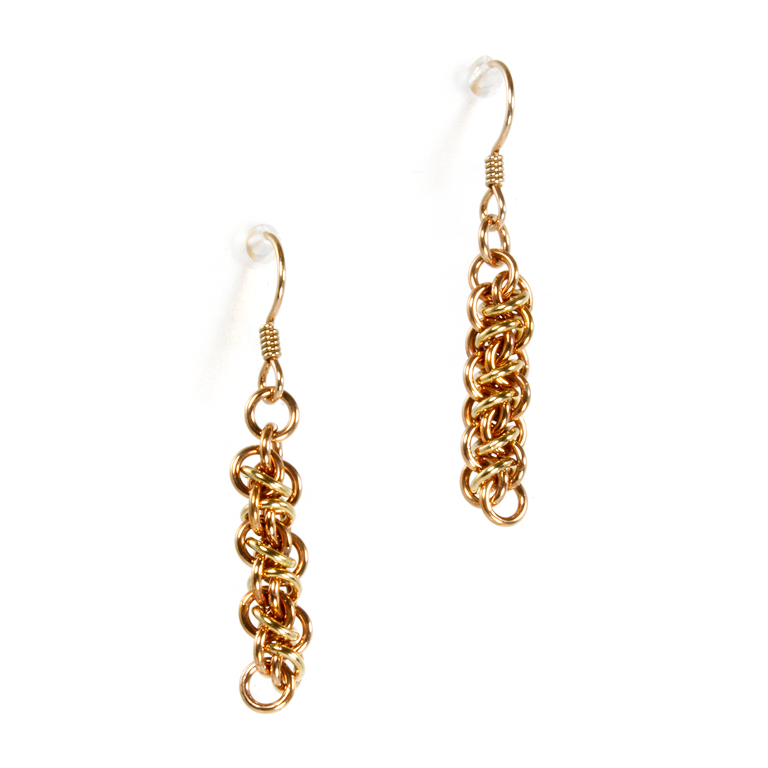 A pair of bronze emira drop chainmaille earrings.