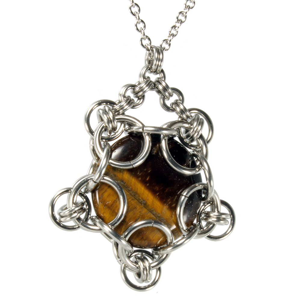 A steel and semi-precious stone capture chainmaille pendant.