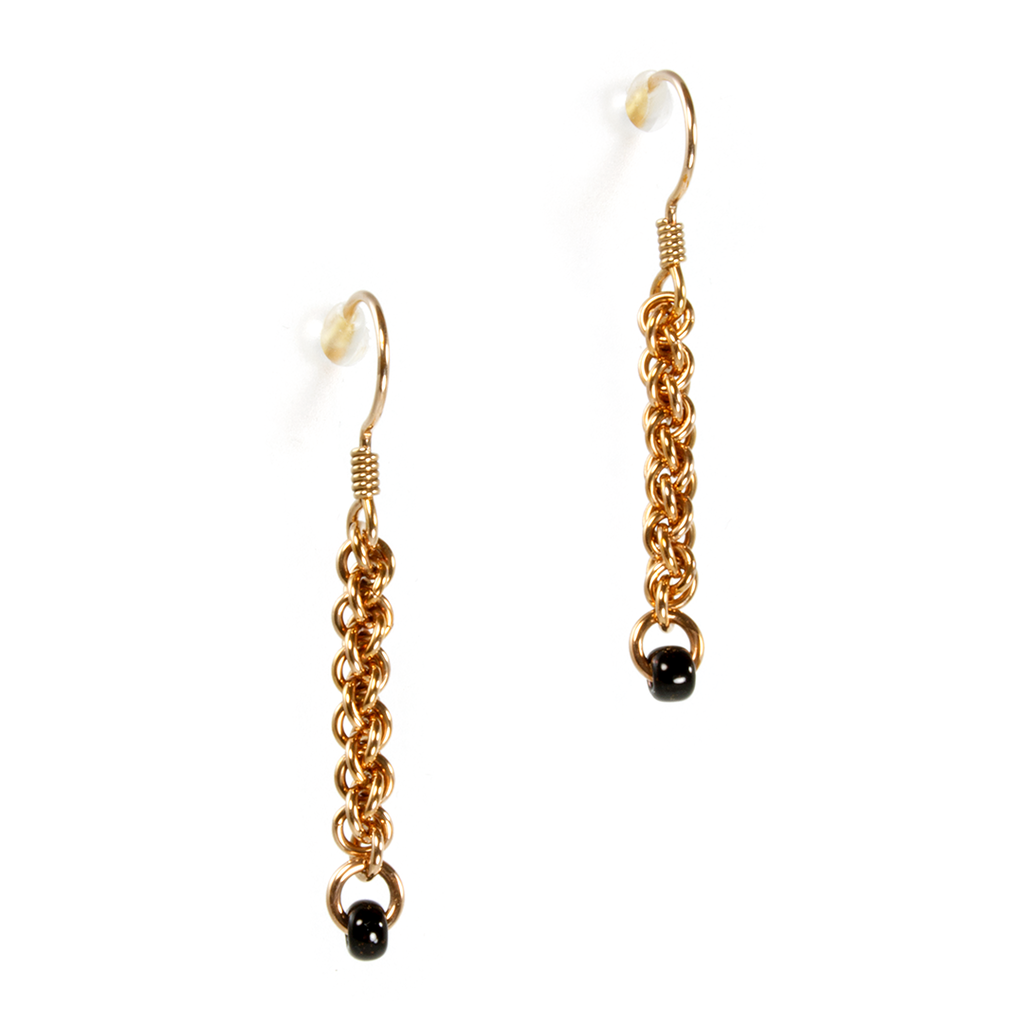 A pair of bronze jens pind linkage drop chainmaille earrings.