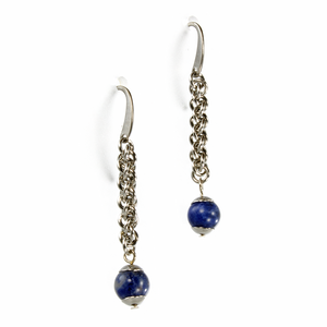 A pair of steel and semi-precious stone jens pind linkage drop chainmaille earrings.