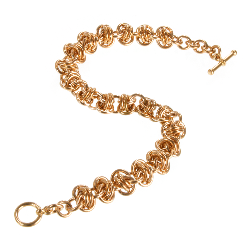 A bronze emira chainmaille bracelet.