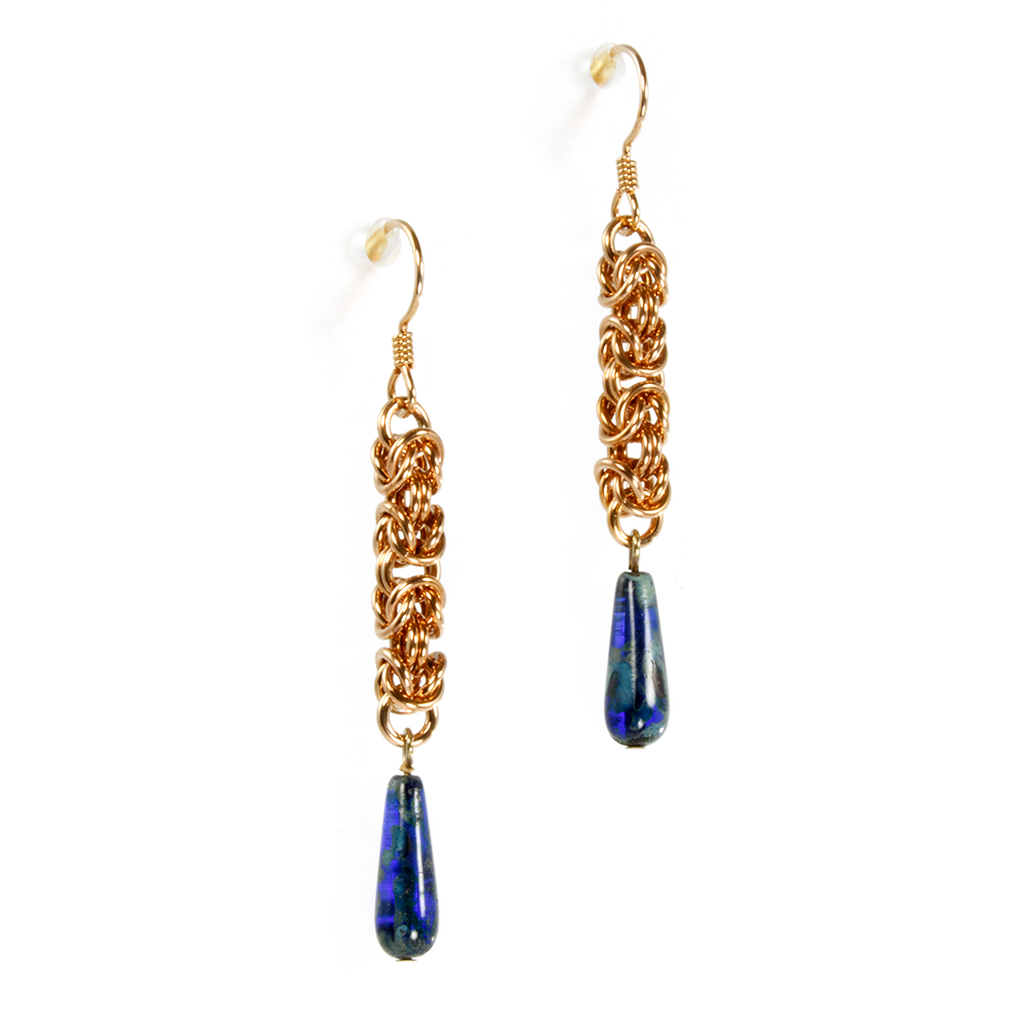 A pair of bronze and czech glass byzantine drop chainmaille earrings.