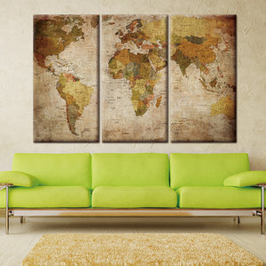3-Panel Vintage Oil Painting World Map