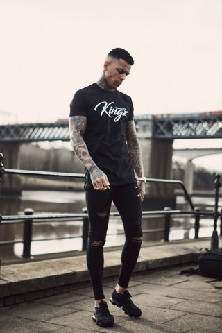 House Of Kingz: Script Longline T-shirt - Black