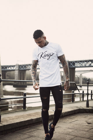 House Of Kingz: Script Longline T-shirt - White