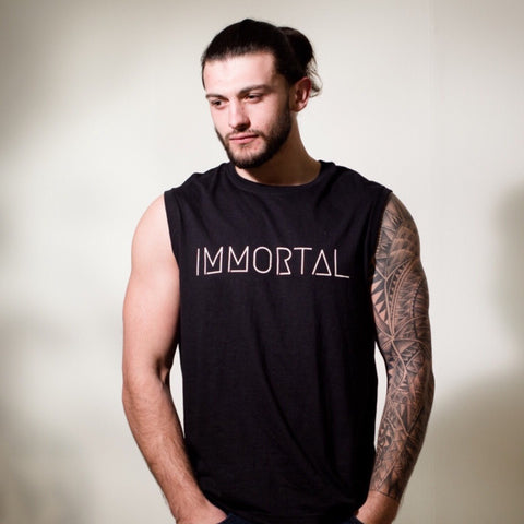 IMMORTAL: Black Sleeveless T-shirt
