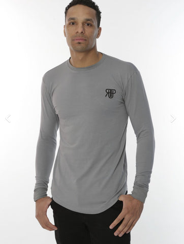 Rockedup: Long Sleeve fitted tee - Grey