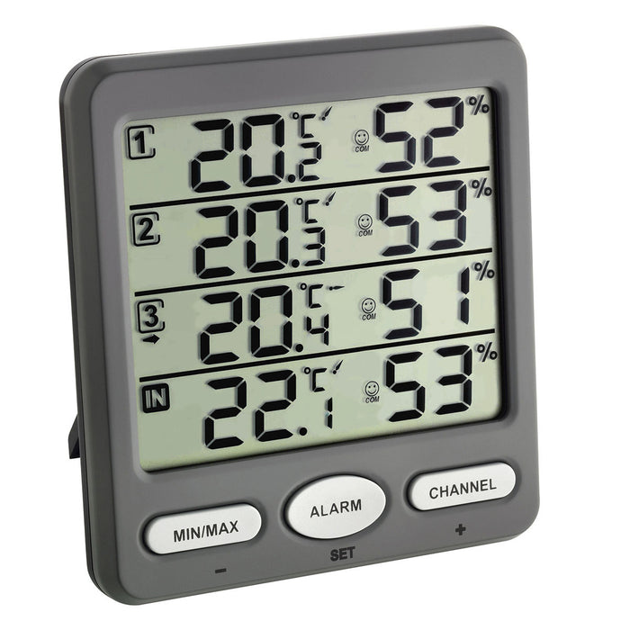 TFA KLIMA-MONITOR Wireless Thermo-Hygrometer with 3 Transmitters