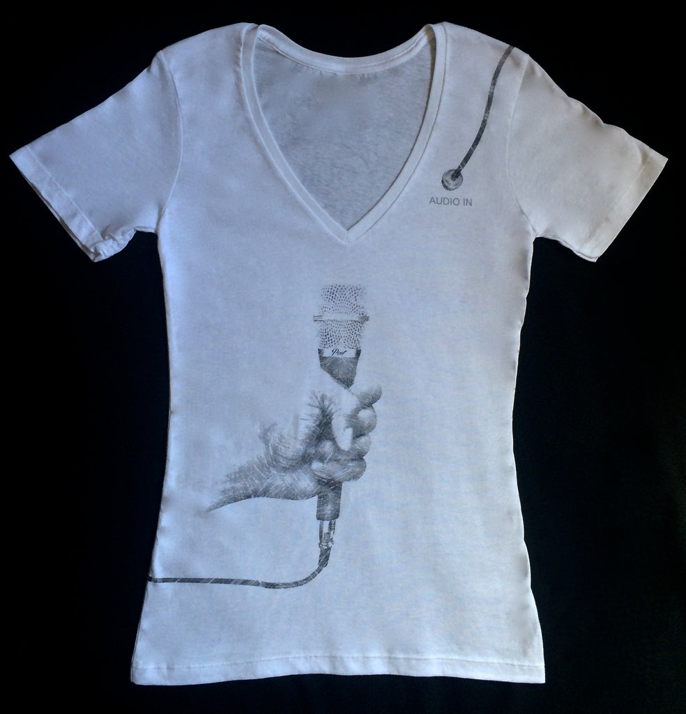 Speak-Up T (Female White V Neck)