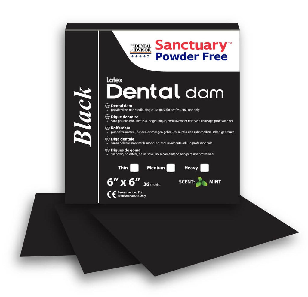 Powder-free Latex Black Dental Dam 6''x6'' 36 sheets MINT