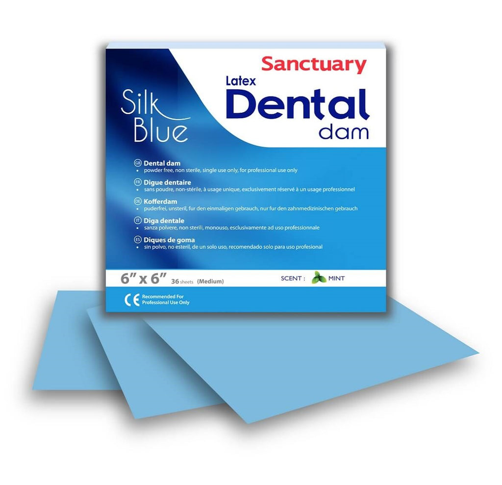 Powder-free Latex Silk Blue Dental Dam 6''x6'' 36 sheets MINT