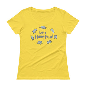 Uncle Bobo's Have Fun Ladies' Scoopneck T-Shirt Yellow