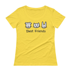 Uncle Bobo's Best Friends Women's Scoopneck T-Shirt Yellow