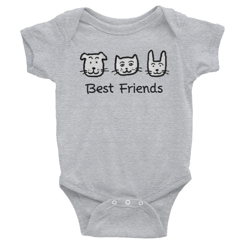 Uncle Bobo's Best Friends Infant Bodysuit Gray