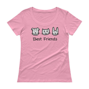 Uncle Bobo's Best Friends Women's Scoopneck T-Shirt Pink