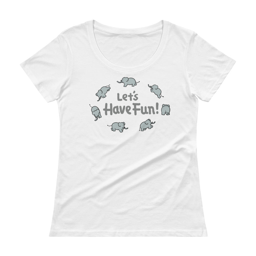 Uncle Bobo's Have Fun Ladies' Scoopneck T-Shirt White