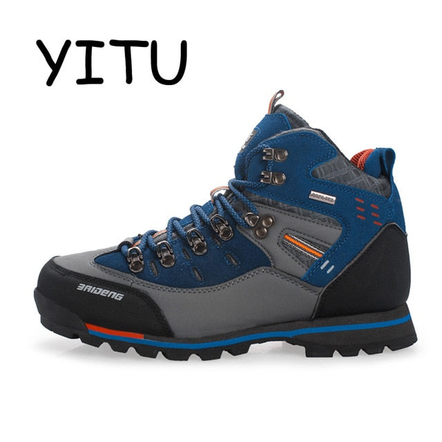 YITU Breathable Outdoor Hiking Shoes Camping Mountain Climbing Hiking Boots Men Waterproof Sport Fishing Boots Trekking Sneakers