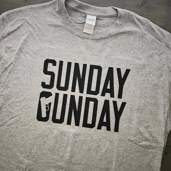 Sunday Gunday Adult T-Shirt, Sunday Funday Shirt, Men's Shirt, Crew Neck Shirt, Funny Graphic Tee, Handgun Shirt, Pistol Tee