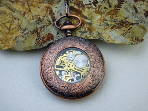 Premium Copper Pocket Watch, Watch Chain, Mechanical Watch, Engravable, Men's Watch, Groomsmen Gift, Gift Boxed - Item MPW162