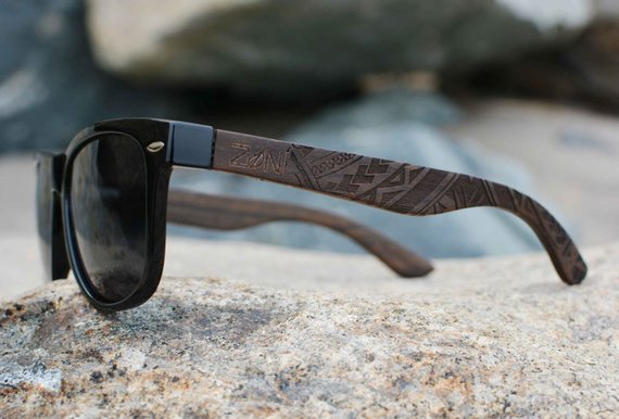 Polarized Wood Sunglasses. Tribal Design. Ebony Wood. Mens Sunglasses. Womens Sunglasses. Bamboo Sunglasses. Christmas Gift.