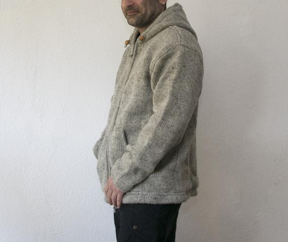 Woolen Snow Jacket  with Fleece Lining- Natural - Uncolored wool - Warm - Winter - Coat