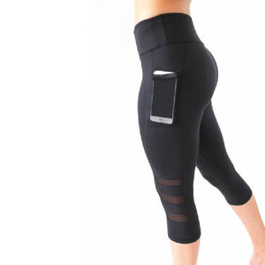 Black Mesh 3/4 Yoga Leggings