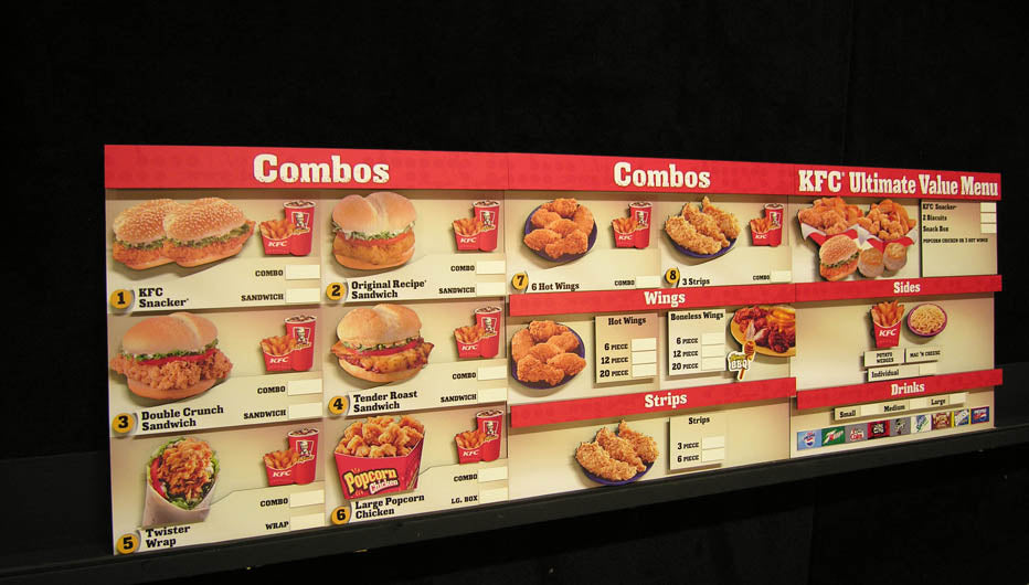 3D Cut Out Magnetic Menu Board created for KFC