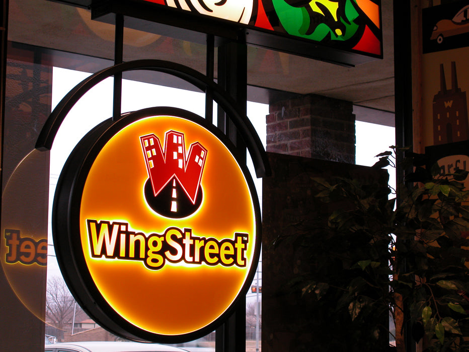 LED Illuminated Interior Blade Sign created for WingStreet by Pizza Hut