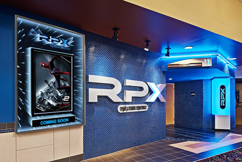 Infinity 3D LED Illuminated XL Poster Case created for Regal Cinemas