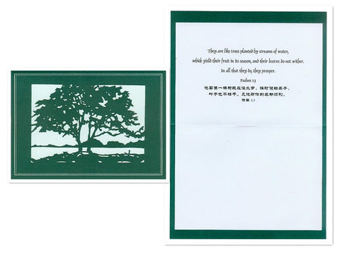 Horizontal Evergreen Card with Scripture