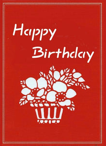 Evergreen Cards' Happy Birthday Flowers hand-cut greeting card