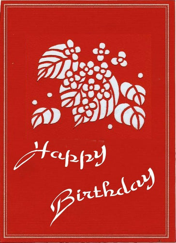 happy birthday vine hand-cut greeting card from evergreen cards