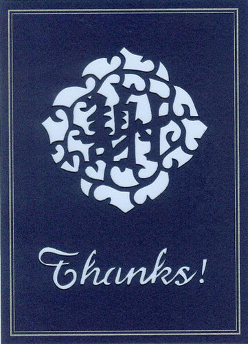blue thanks! hand-cut greeting card from evergreen cards