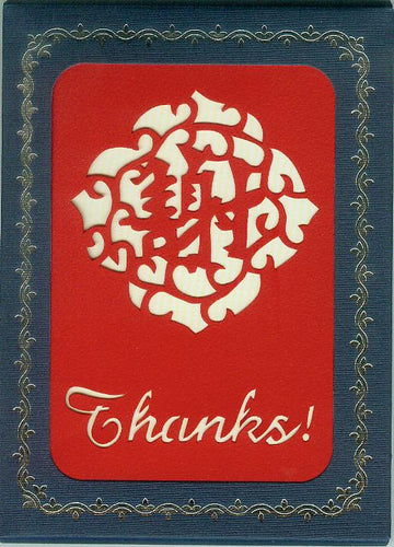 red thanks! hand cut 10-pack greeting cards from evergreen cards