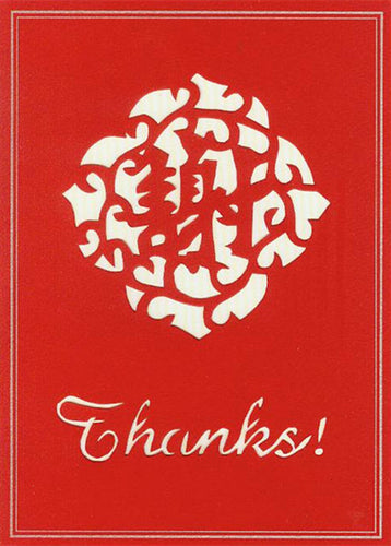 red thanks! hand-cut greeting card from evergreen cards