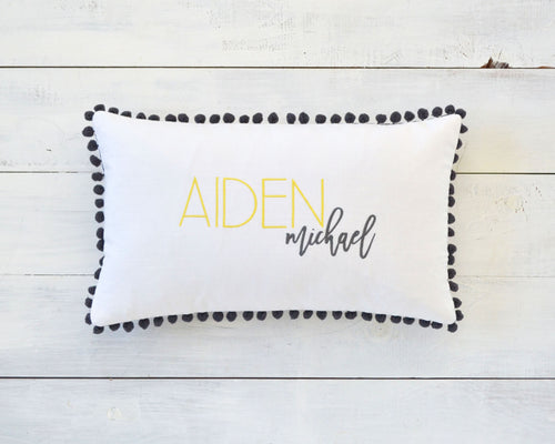 Personalized Embroidered Pillow Cover with Dark Gray Pom Pom Trim