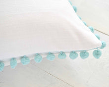 Aqua Pom Pom Pillow Cover
