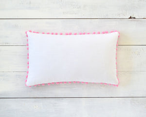 Pink Pom Pom Pillow Cover