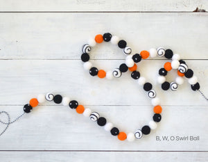 Felt Ball Garland - Halloween Swirl