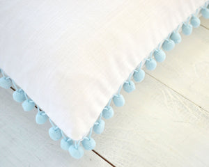 Light Blue Pom Pom Pillow Cover