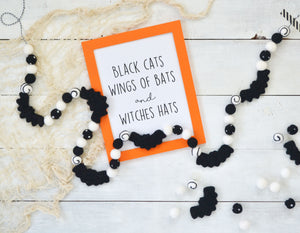 Felt Ball Garland - Halloween Bats