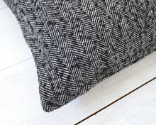 Black & White Wool Herringbone Pillow Cover