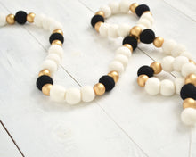Felt Ball Garland - 2cm Ivory, Black & Gold