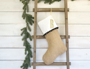 CHRISTMAS STOCKING - Black Pom Pom and Burlap
